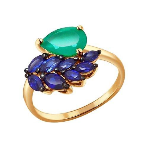 Кольцо SOKOLOV из золота с зелёным агатом