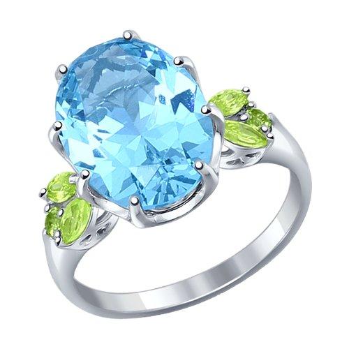 Кольцо из серебра с крупным ситаллом и зелёными фианитами
