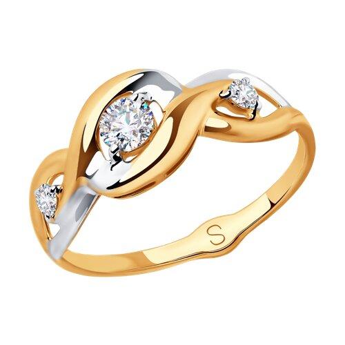 Кольцо из золота с фианитами (018037) - фото