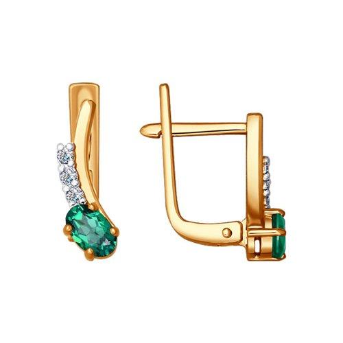 Серьги SOKOLOV из золота с бриллиантами и изумрудами серьги с изумрудами и бриллиантами из розового золота valtera 94047