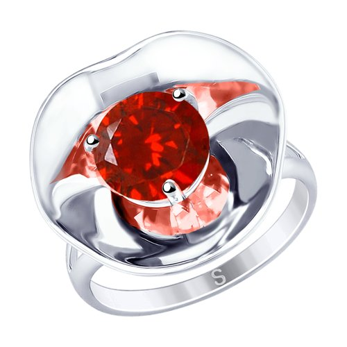 Кольцо из серебра с фианитом (8-94010004) - фото