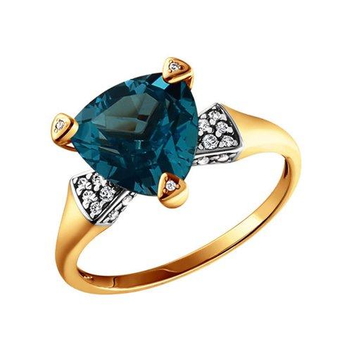 Золотое кольцо с синим топазом SOKOLOV золотое кольцо ювелирное изделие 01k626002