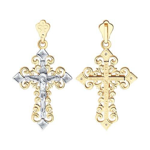 Крест из комбинированного золота с фианитами (120112) - фото