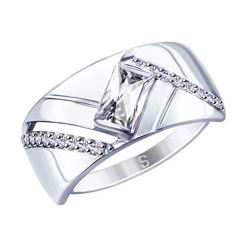 Кольцо из серебра с фианитами (94012688) - фото