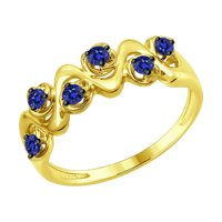 Кольцо из желтого золота с сапфирами