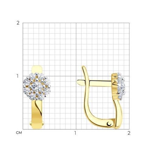 Серьги из желтого золота с фианитами (026810-2) - фото №2