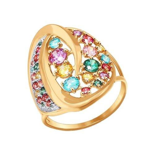 Золотое кольцо с разноцветными фианитами