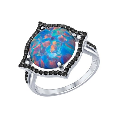 Кольцо из серебра с чёрными фианитами