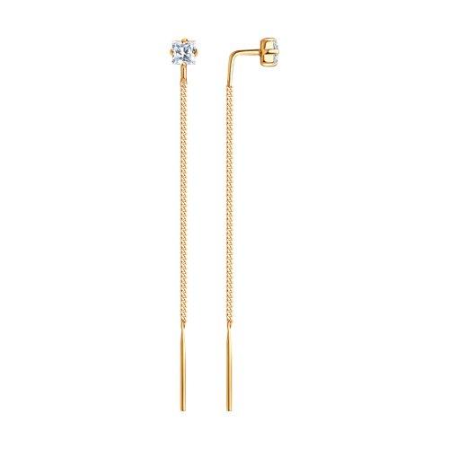 Серьги-цепочки из золота с фианитами (020608) - фото