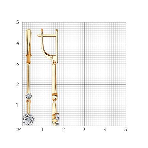 Серьги из комбинированного золота с бриллиантами 1021372 SOKOLOV фото 2