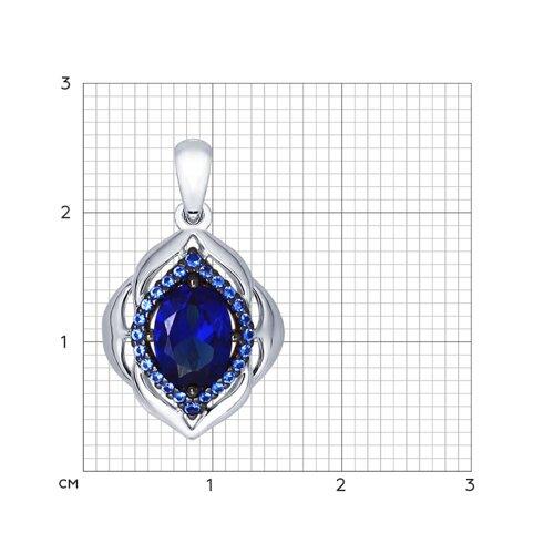 Подвеска из серебра с корундом сапфировым (синт.) и синими фианитами