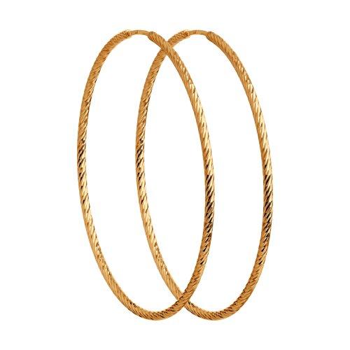 Серьги конго из золота с алмазной гранью (140140) - фото