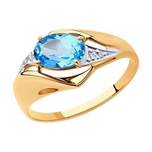 Кольцо из золота с топазом и фианитами 715265 SOKOLOV фото