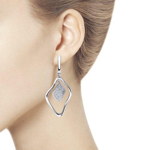 Серьги из серебра с фианитами (94023841) - фото №2
