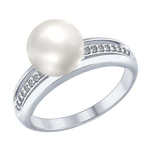 Кольцо из серебра с жемчугом и фианитами (94012346) - фото