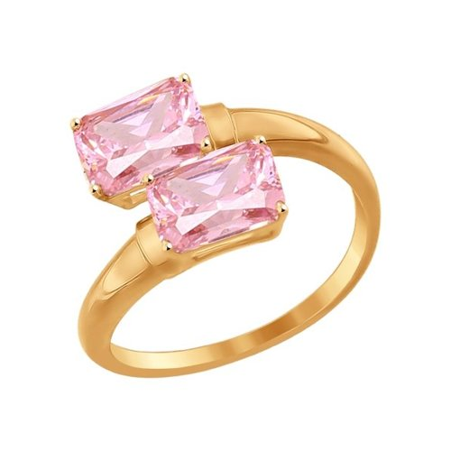 Кольцо SOKOLOV из золота с розовыми фианитами