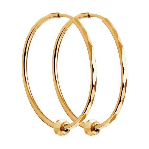 Серьги конго из золота с алмазной гранью (140120) - фото