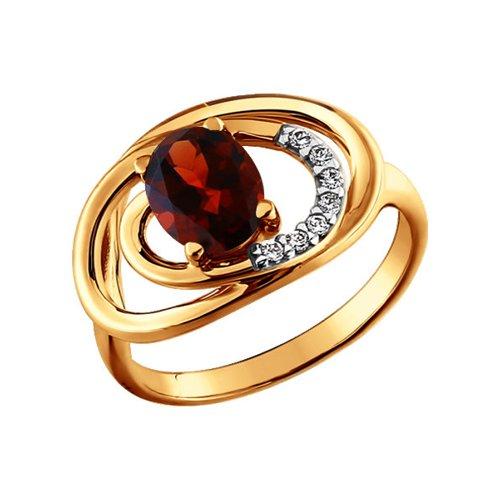 Кольцо SOKOLOV из золота с гранатом и фианитами