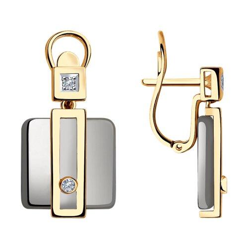 Серьги из золота с бриллиантами и керамикой (6025113) - фото
