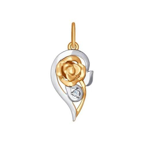 Подвеска из золота с фианитом (035006) - фото