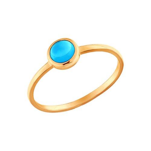 Тонкое золотое кольцо с голубым топазом