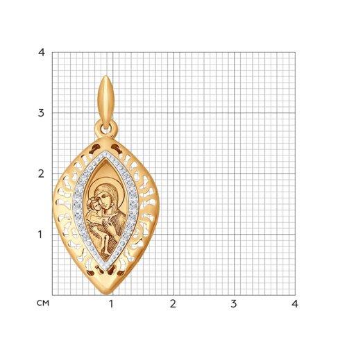 Иконка из золота с лазерной обработкой с фианитами (104098) - фото №2