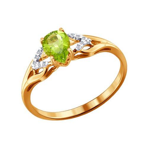 Кольцо из золота с фианитами и хризолитом (713830) - фото