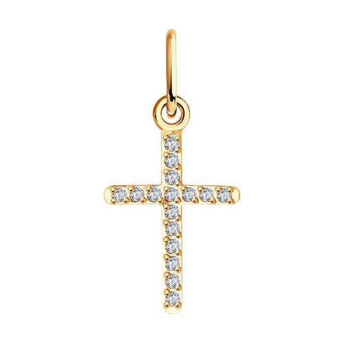 Крестик с фианитами  (120309) - фото