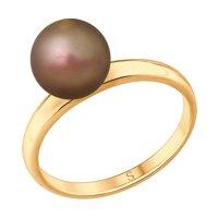 Кольцо из золочёного серебра с коричневым жемчугом Swarovski