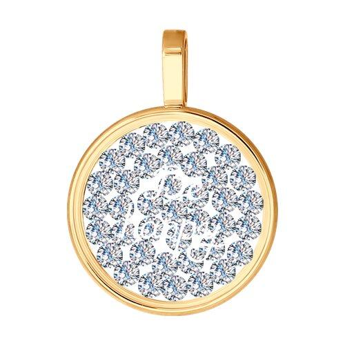 Подвеска из золота с минеральным стеклом и фианитами