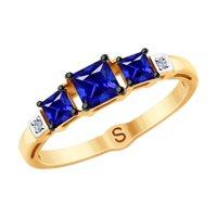 Кольцо из золота с бриллиантами и синими корундами (синт.)