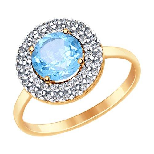Кольцо из золота с топазом и фианитами (714972) - фото