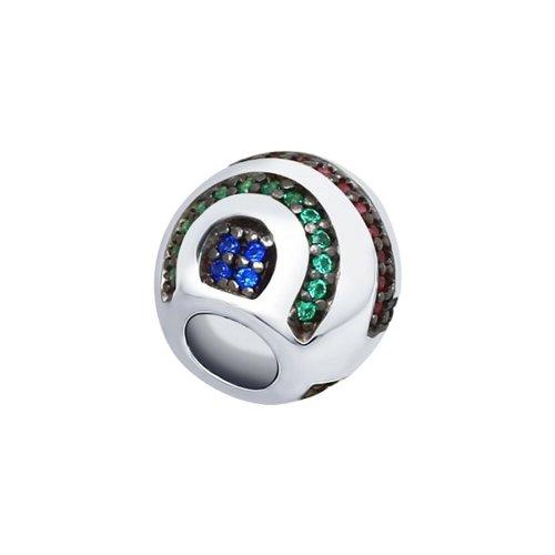 Подвеска из серебра с зелеными, красными и синими фианитами