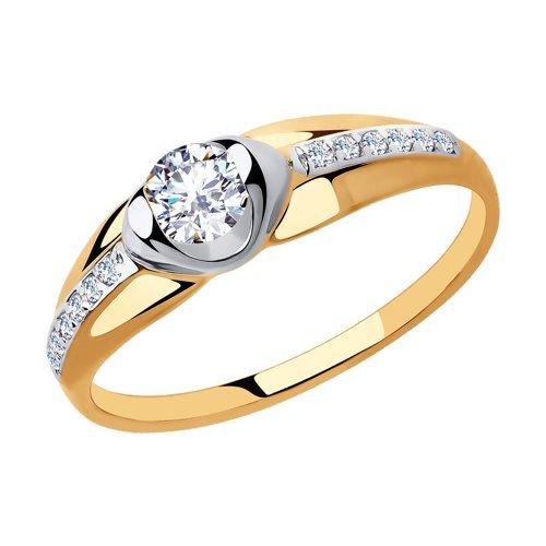 Кольцо из золота с фианитами (018249) - фото