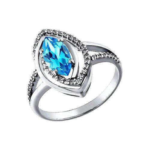 Белое кольцо с голубым топазом SOKOLOV