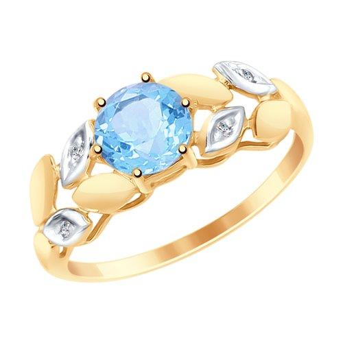 Кольцо из золота с топазом и фианитами (715029) - фото