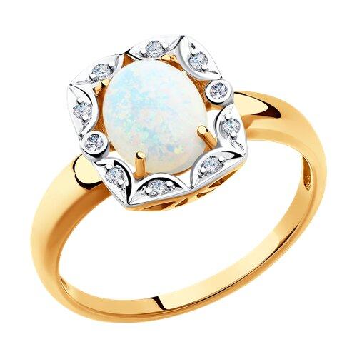 Кольцо из золота с бриллиантами и опалом (6014062) - фото