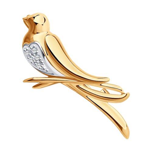 Брошь «Птичка» с бриллиантами