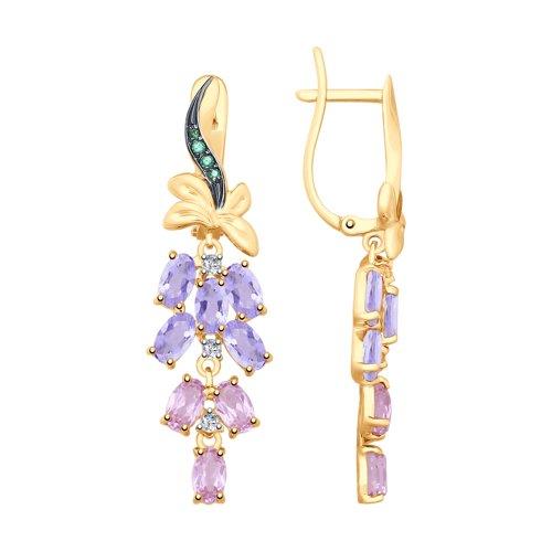 Серьги из золота с аметистами и голубыми ситаллами (725696) - фото
