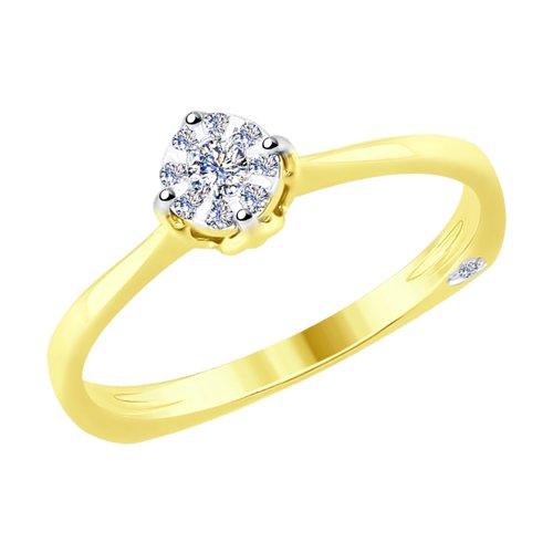 Кольцо из комбинированного золота с бриллиантами (1011703-2) - фото