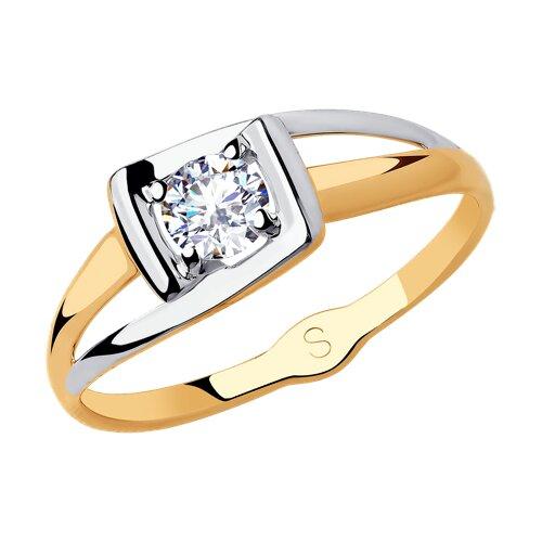 Кольцо из золота с фианитом (018195) - фото