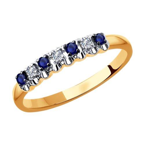 Кольцо из золота с бриллиантами и сапфирами 2011114 sokolov фото
