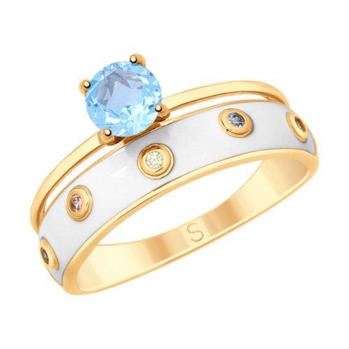 Кольцо из золочёного серебра с эмалью и топазом и фианитами (92011595) - фото