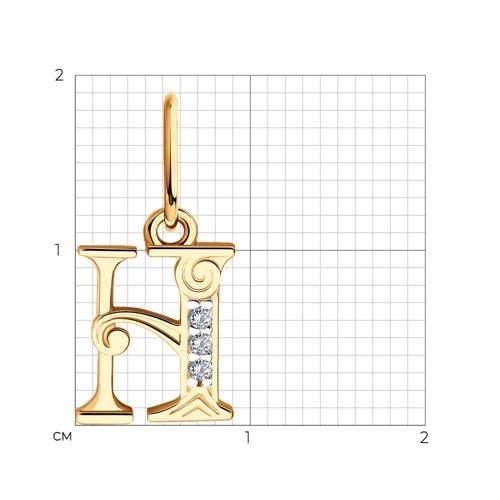 """Подвеска-буква """"Н"""" из золота с фианитами 033827 SOKOLOV фото 2"""