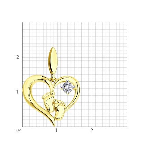 """Подвеска """"Пяточки"""" из желтого золота с фианитом 034831-2 SOKOLOV фото 2"""