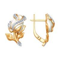 Золотые серьги «Белые розы» с бриллиантами
