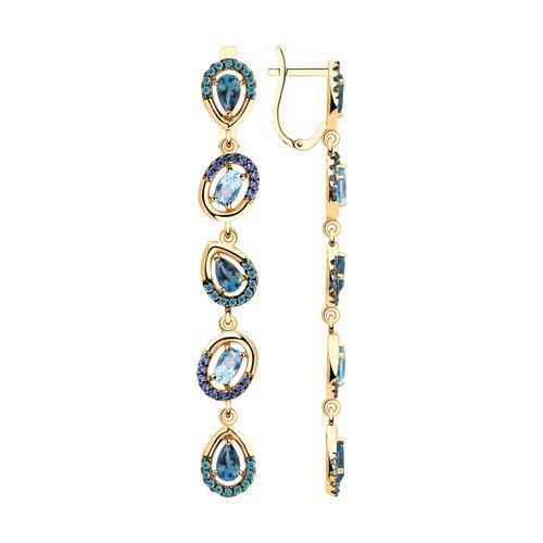 Серьги из золота с голубыми и синими топазами и фианитами (726061) - фото