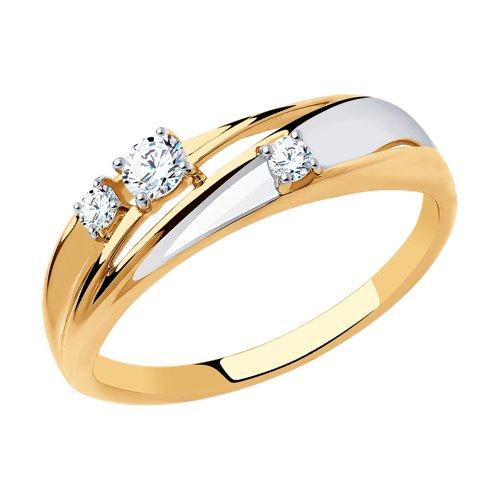 Кольцо из золота с фианитами (018339) - фото