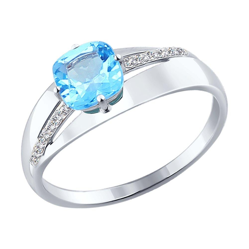 Фото - Кольцо SOKOLOV из белого золота с топазом и фианитами maya gemstones кольцо из белого золота с топазом из коллекции secret garden