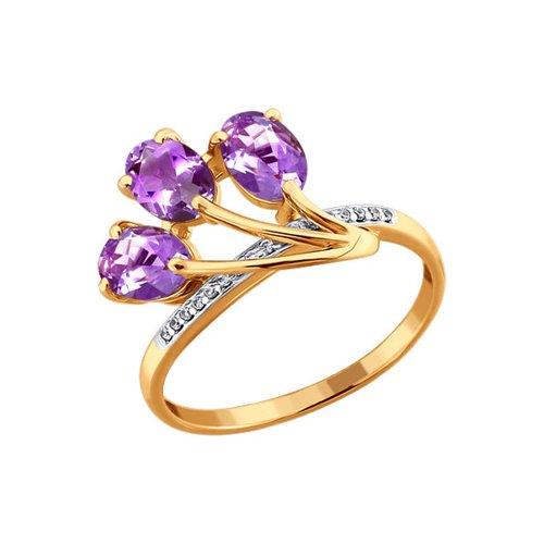 Кольцо SOKOLOV из золота c аметистами и фианитами «Бутоны крокуса» стоимость